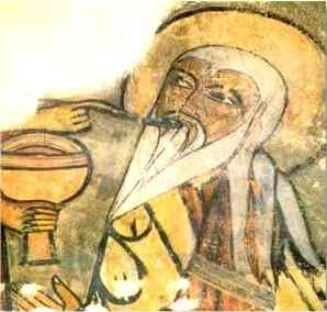 Le prêtre sacrificateur Melchisedech (Melchisedec, Melchisedek, Melchizedek), devant un autel maçonné, porte une cuillère à la bouche d'Abraham, après l'avoir rempli dans un calice du pain eucharistique.